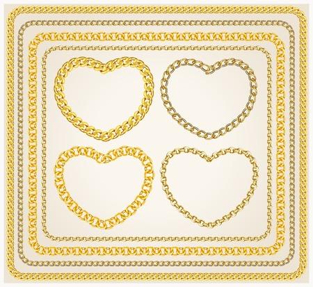 Set van frames gouden kettingen.