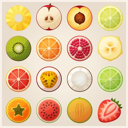 pomegranates: Set of fruit halves. Vector icons. Illustration