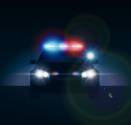 Police car at night. Realistic vector illusration Çizim
