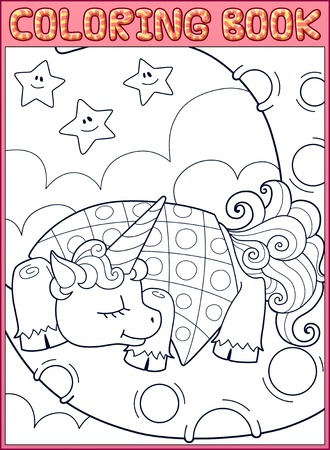 schoolboy: Coloring book page. Schoolboy show structure of the human body on poster