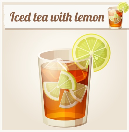 ice lemon tea: Glass of iced tea. Detailed Vector Icon. Series of food and drink and ingredients for cooking. Illustration