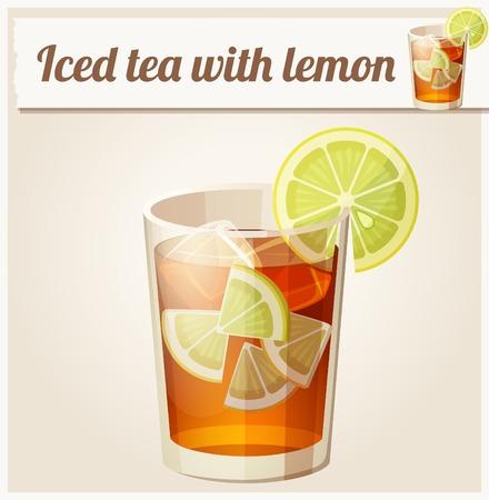 té helado: Vaso de té helado. Icono detallado del vector. Serie de comida y bebida y los ingredientes para cocinar.