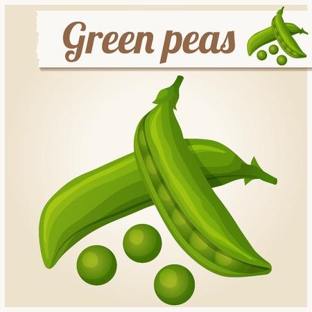 Green peas. Detailed Vector Icon Vector