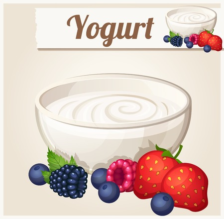 ice cream glass: Yogurt with berries.  Detailed Vector Icon