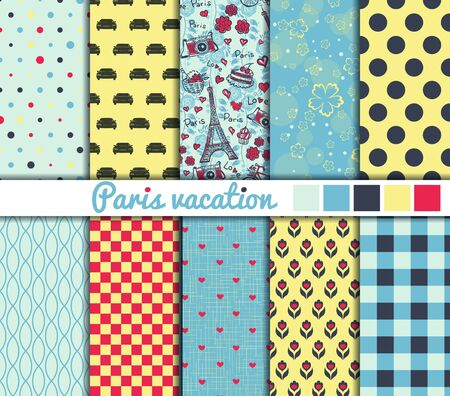 color illustration: Set of 10 simple seamless patterns. Paris vacation color palette.