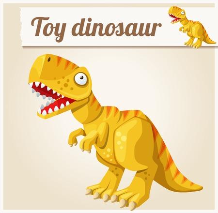dinosaurio: Juguete dinosaurio ilustración vectorial de dibujos animados. Serie de juguetes para niños Vectores