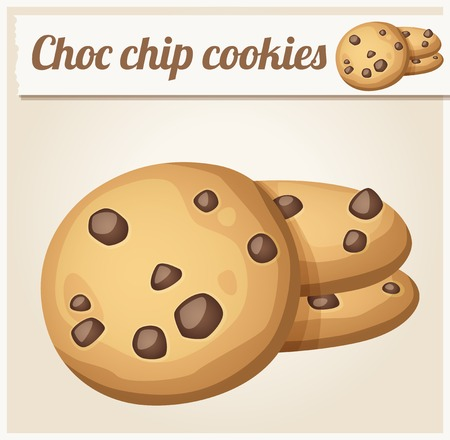 cook cartoon: Choc chip cookies. Detailed Vector Icon. Series of food and drink and ingredients for cooking.