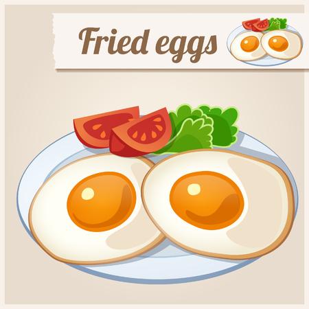 fried eggs: Detailed Icon. Fried eggs for breakfast. Illustration