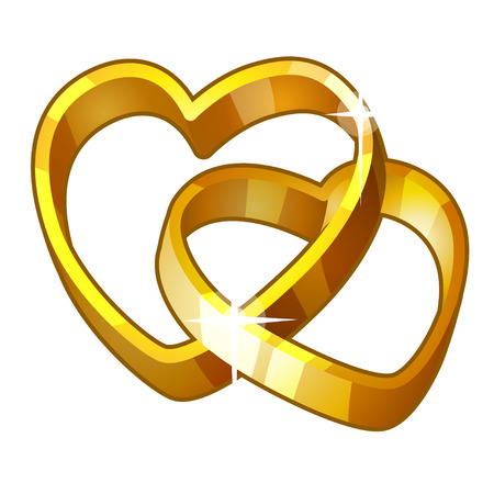 Detailed Icon. Heart Rings isolated on white background Vector