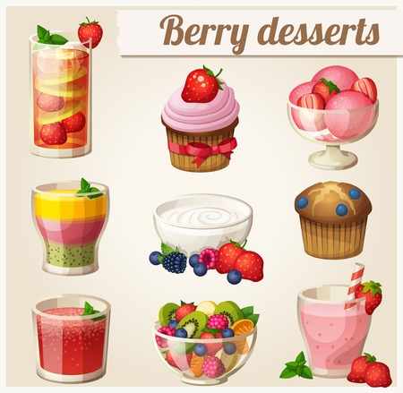 Set van voedsel pictogrammen. Berry desserts. Strawberry smoothie, yoghurt, aardbei limonade, watermeloen sap, salade, ijs, bosbessen muffin, cupcake, smoothie met perzik, aardbei en kiwi.