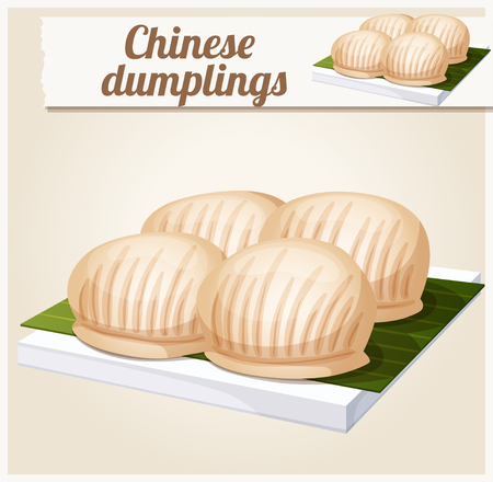 sum: Chinese dumplings. Detailed Vector Icon. Series of food and drink and ingredients for cooking. Illustration