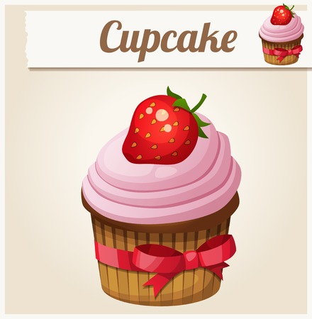 icon series: Pink cupcake. Detailed Vector Icon. Series of food and drink and ingredients for cooking.