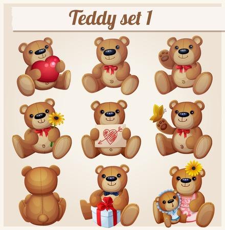 Conjunto de ursos de pelúcia. Parte 1. Ilustração em vetor dos desenhos animados