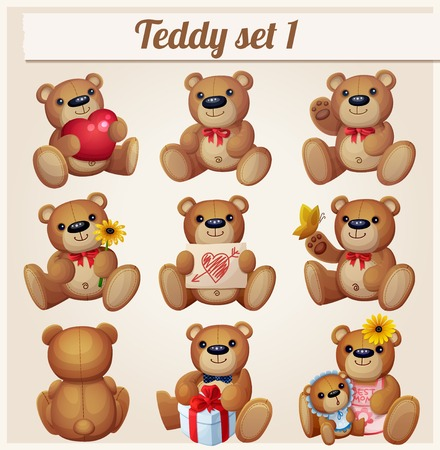 brown bear: Teddy bears set. Part 1. Cartoon vector illustration