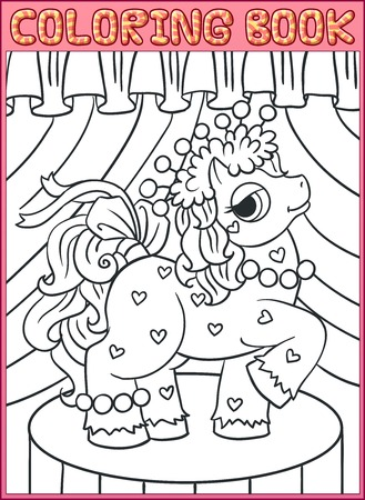 Coloring book pages. Little Beautiful Pony