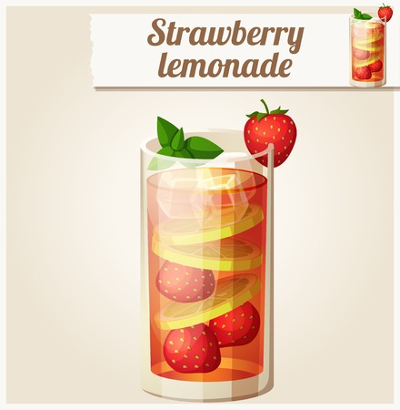 icon series: Strawberry lemonade. Detailed Vector Icon. Series of food and drink and ingredients for cooking.