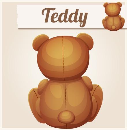 baby bear cartoon: Teddy bear sits back. Cartoon vector illustration. Series of childrens toys Illustration