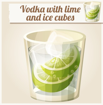 icon series: Vodka with lime and ice cubes. Detailed Vector Icon. Series of food and drink and ingredients for cooking. Illustration