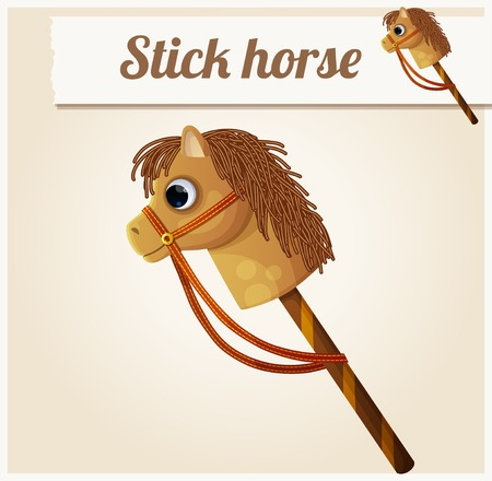Stick horse toy. Cartoon vector illustration. Series of children's toys