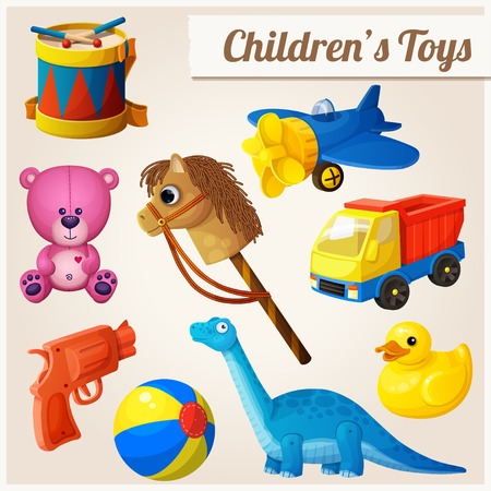 juguetes de madera: Conjunto de juguetes para ni�os. Ilustraci�n vectorial de dibujos animados.