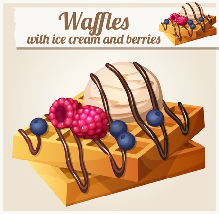 Waffles with ice cream and berries. Detailed Vector Icon. Series of food and drink and ingredients for cooking.
