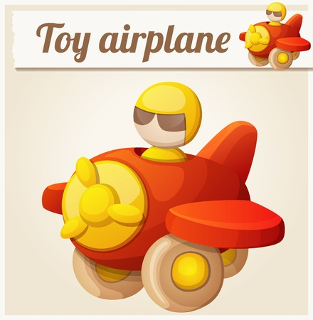 air plane: Red toy airplane. Cartoon vector illustration. Series of childrens toys
