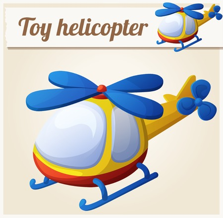 Toy helicopter. Cartoon vector illustration. Series of childrens toys