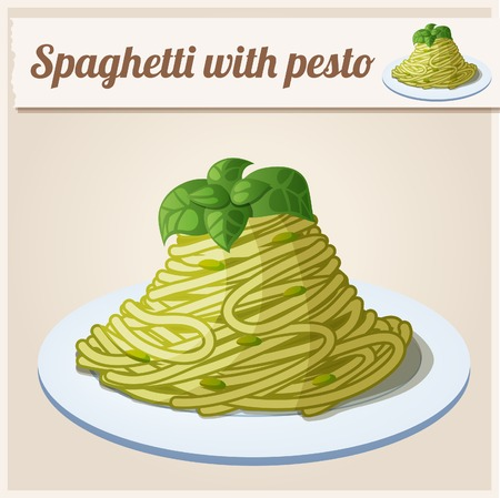 Spaghetti with green pesto. Detailed Vector Icon. Series of food and drink and ingredients for cooking.