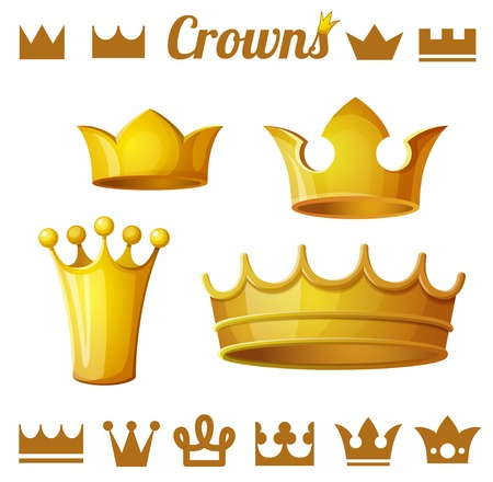 Set 2 of royal gold crowns isolated on white. Vector illustration.