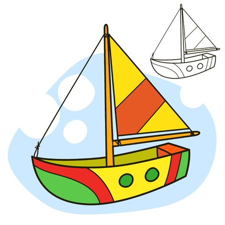 Sailing vessel. Coloring book page. Cartoon vector illustration.