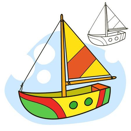 sailing vessel: Velero. Colorear p�gina del libro. Ilustraci�n vectorial de dibujos animados. Vectores