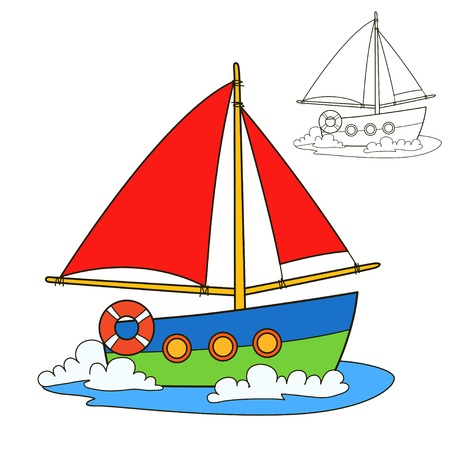 vessel: Sailing vessel. Coloring book page. Cartoon vector illustration.