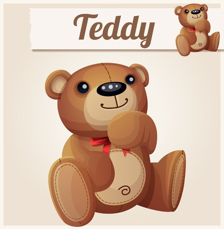 baby playing toy: Teddy bear dreams. Cartoon vector illustration.