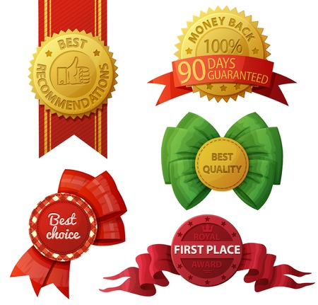 recommendations: Set of badges and labels isolated on white background. Vector illustration. Best choice. Money back 100% 90 days guaranteed. Best recommendations. First place royal award.