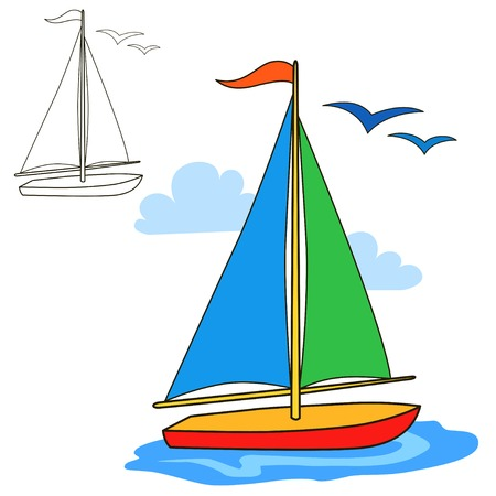picture book: Sailing vessel. Coloring book page. Cartoon vector illustration.