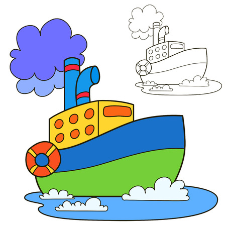 ships: Motor ship. Coloring book page. Cartoon vector illustration.