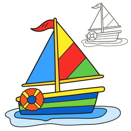 sailing boats: Sailing vessel. Coloring book page. Cartoon vector illustration.