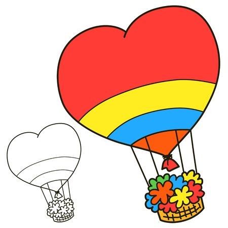 corazones azules: Globo. Colorear página del libro. Ilustración vectorial de dibujos animados. Vectores
