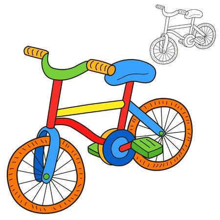 niños en bicicleta: Bicicletas de la página del libro para colorear Vectores