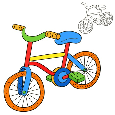 doodle art clipart: Bicycle for Coloring book page Illustration