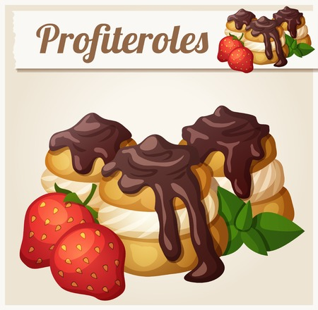 eclair: Profiteroles with chocolate and strawberry