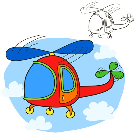 Helicopter for Coloring book page 矢量图像