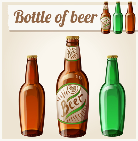 green beer: Bottle of beer Detailed Vector Icon Illustration