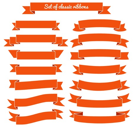 Set van rood lint banners