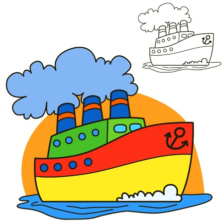 sailing: Motor ship for Coloring book page