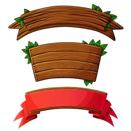 Set of dark wooden banners