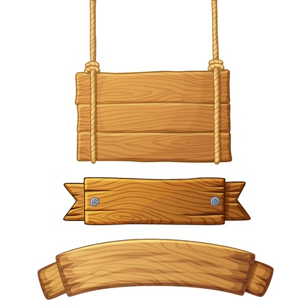 Set of light wooden banners