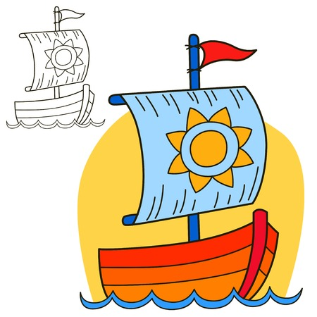 pleasure boat: Sailing vessel for Coloring book page Illustration