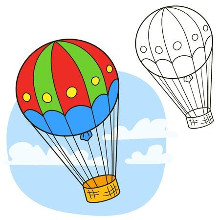 Luchtballon voor kleurboek pagina Stock Illustratie