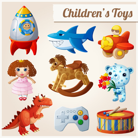 Conjunto de juguetes de la ilustración infantil. Ilustración de vector
